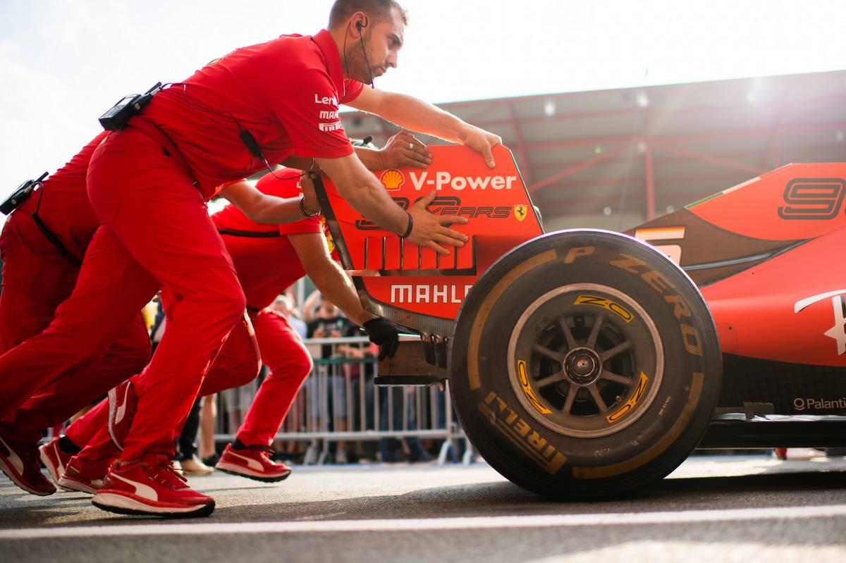 Ferrari mechanics practice a pit stop. 29.08.2019.