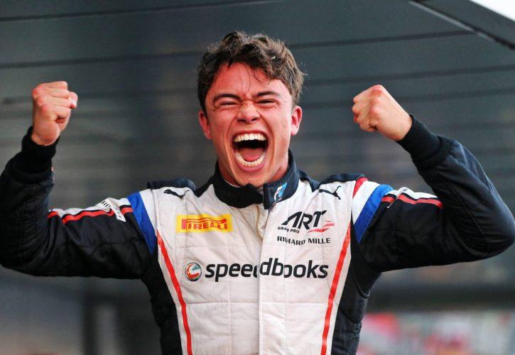 Race winner and F2 Champion Nyck De Vries (NLD) ART Grand Prix celebrates in parc ferme.