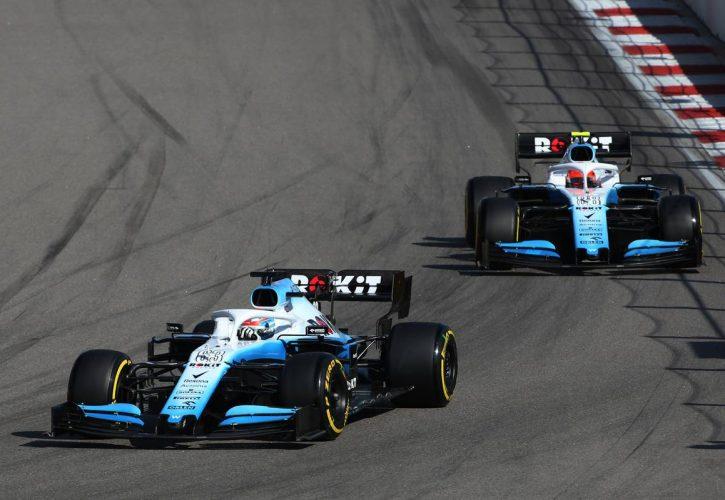 George Russell (GBR) Williams Racing FW42 leads Robert Kubica (POL) Williams Racing FW42.