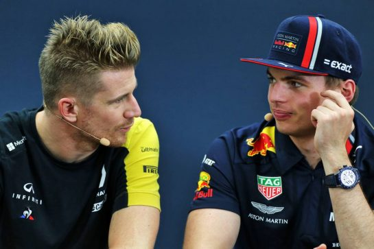 (L to R): Nico Hulkenberg (GER) Renault F1 Team with Max Verstappen (NLD) Red Bull Racing in the FIA Press Conference. 10.10.2019. Formula 1 World Championship, Rd 17, Japanese Grand Prix, Suzuka, Japan, Preparation Day. - www.xpbimages.com, EMail: requests@xpbimages.com - copy of publication required for printed pictures. Every used picture is fee-liable. © Copyright: Moy / XPB Images