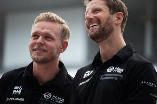 (L to R): Kevin Magnussen (DEN) Haas F1 Team with team mate Romain Grosjean (FRA) Haas F1 Team. 10.10.2019. Formula 1 World Championship, Rd 17, Japanese Grand Prix, Suzuka, Japan, Preparation Day.  - www.xpbimages.com, EMail: requests@xpbimages.com - copy of publication required for printed pictures. Every used picture is fee-liable. © Copyright: Bearne / XPB Images