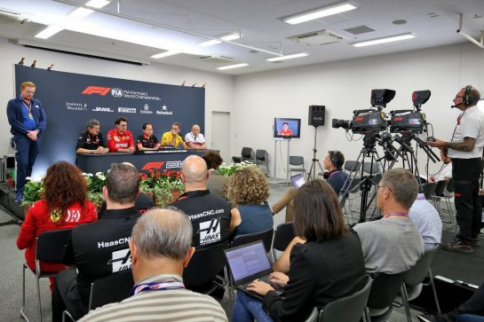 The FIA Press Conference (L to R): Guenther Steiner (ITA) Haas F1 Team Prinicipal; Mattia Binotto (ITA) Ferrari Team Principal; Toyoharu Tanabe (JPN) Honda Racing F1 Technical Director; Cyril Abiteboul (FRA) Renault Sport F1 Managing Director; Frederic Vasseur (FRA) Alfa Romeo Racing Team Principal. 11.10.2019. Formula 1 World Championship, Rd 17, Japanese Grand Prix, Suzuka, Japan, Practice Day. - www.xpbimages.com, EMail: requests@xpbimages.com - copy of publication required for printed pictures. Every used picture is fee-liable. © Copyright: Moy / XPB Images