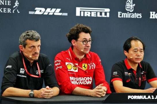 The FIA Press Conference (L to R): Guenther Steiner (ITA) Haas F1 Team Prinicipal; Mattia Binotto (ITA) Ferrari Team Principal; Toyoharu Tanabe (JPN) Honda Racing F1 Technical Director. 11.10.2019. Formula 1 World Championship, Rd 17, Japanese Grand Prix, Suzuka, Japan, Practice Day. - www.xpbimages.com, EMail: requests@xpbimages.com - copy of publication required for printed pictures. Every used picture is fee-liable. © Copyright: Moy / XPB Images