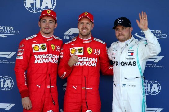 Pole position for Sebastian Vettel (GER) Ferrari SF90, 2nd for Charles Leclerc (MON) Ferrari SF90 and 3rd for Valtteri Bottas (FIN) Mercedes AMG F1 W10.