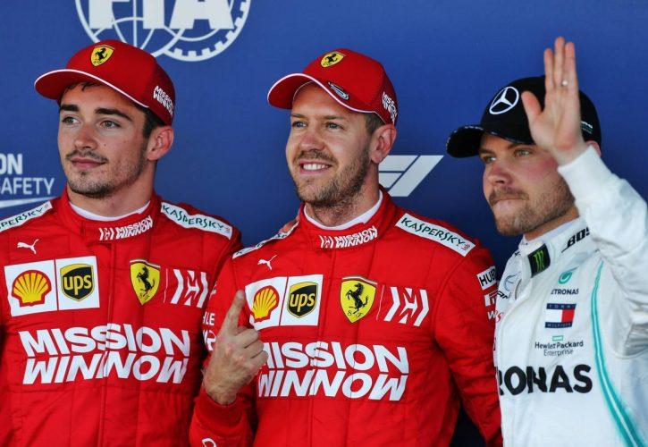 Qualifying top three in parc ferme (L to R): Charles Leclerc (MON) Ferrari, second; Sebastian Vettel (GER) Ferrari, pole position; Valtteri Bottas (FIN) Mercedes AMG F1, third.