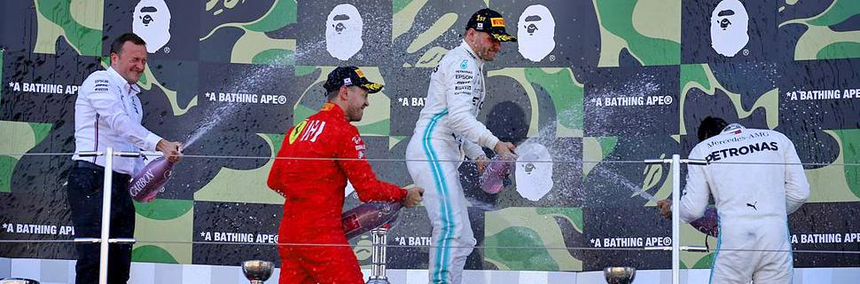 1st place Valtteri Bottas (FIN) Mercedes AMG F1 W10, 2nd place Sebastian Vettel (GER) Ferrari SF90 and 3rd place Lewis Hamilton (GBR) Mercedes AMG F1 W10.