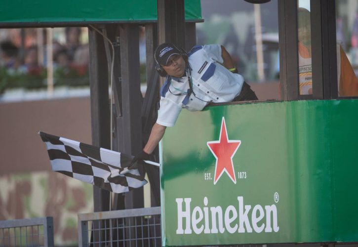 The chequered flag at the end of the race.