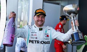 Race winner Valtteri Bottas (FIN) Mercedes AMG F1 celebrates on the podium.