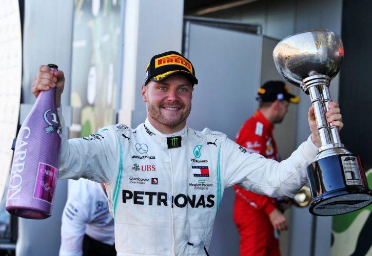 Race winner Valtteri Bottas (FIN) Mercedes AMG F1 celebrates on the podium.