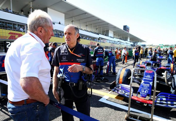 Dr Helmut Marko (AUT) Red Bull Motorsport Consultant and Franz Tost (AUT) Scuderia Toro Rosso Team Principal on the grid.