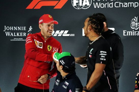 (L to R): Sebastian Vettel (GER) Ferrari with Lewis Hamilton (GBR) Mercedes AMG F1 in the FIA Press Conference. 24.10.2019. Formula 1 World Championship, Rd 18, Mexican Grand Prix, Mexico City, Mexico, Preparation Day.  - www.xpbimages.com, EMail: requests@xpbimages.com © Copyright: Dungan / XPB Images