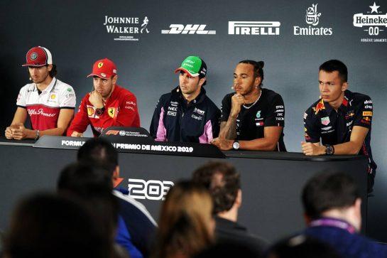 The FIA Press Conference (L to R): Antonio Giovinazzi (ITA) Alfa Romeo Racing; Sebastian Vettel (GER) Ferrari; Sergio Perez (MEX) Racing Point F1 Team; Lewis Hamilton (GBR) Mercedes AMG F1; Alexander Albon (THA) Red Bull Racing. 24.10.2019. Formula 1 World Championship, Rd 18, Mexican Grand Prix, Mexico City, Mexico, Preparation Day.  - www.xpbimages.com, EMail: requests@xpbimages.com © Copyright: Dungan / XPB Images