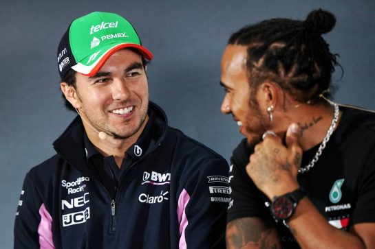 (L to R): Sergio Perez (MEX) Racing Point F1 Team with Lewis Hamilton (GBR) Mercedes AMG F1 in the FIA Press Conference. 24.10.2019. Formula 1 World Championship, Rd 18, Mexican Grand Prix, Mexico City, Mexico, Preparation Day.  - www.xpbimages.com, EMail: requests@xpbimages.com © Copyright: Dungan / XPB Images