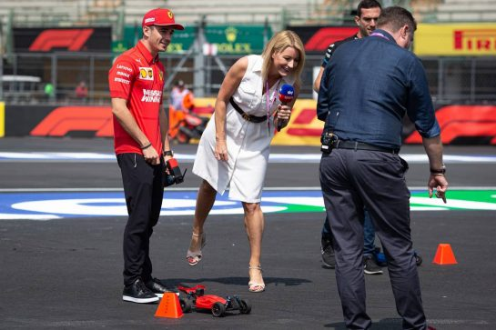 Charles Leclerc (MON) Ferrari with Rachel Brookes (GBR) Sky Sports F1 Reporter and David Croft (GBR) Sky Sports Commentator. 24.10.2019. Formula 1 World Championship, Rd 18, Mexican Grand Prix, Mexico City, Mexico, Preparation Day.  - www.xpbimages.com, EMail: requests@xpbimages.com © Copyright: Bearne / XPB Images