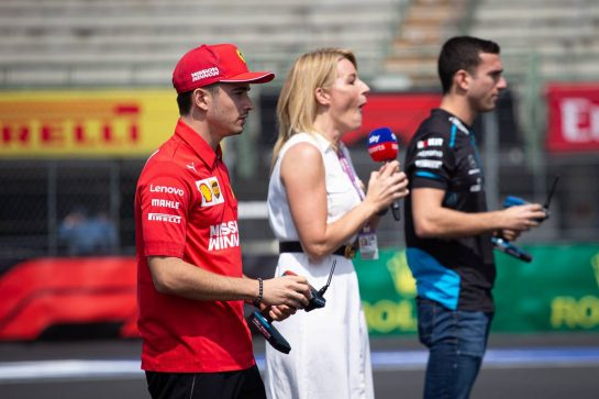 (L to R): Charles Leclerc (MON) Ferrari; Rachel Brookes (GBR) Sky Sports F1 Reporter; and Nicholas Latifi (CDN) Williams Racing Test and Development Driver. 24.10.2019. Formula 1 World Championship, Rd 18, Mexican Grand Prix, Mexico City, Mexico, Preparation Day.  - www.xpbimages.com, EMail: requests@xpbimages.com © Copyright: Bearne / XPB Images