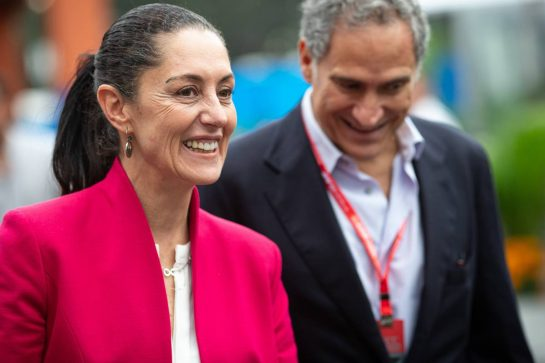 (L to R): Claudia Sheinbaum (MEX) Mexico City Mayor with Alejandro Soberon (MEX) President and CEO for CIE Group and President of Formula 1 Gran Premio de Mexico. 24.10.2019. Formula 1 World Championship, Rd 18, Mexican Grand Prix, Mexico City, Mexico, Preparation Day.  - www.xpbimages.com, EMail: requests@xpbimages.com © Copyright: Bearne / XPB Images