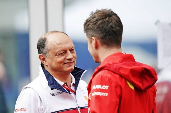 (L to R): Frederic Vasseur (FRA) Alfa Romeo Racing Team Principal with Charles Leclerc (MON) Ferrari.                                25.10.2019. Formula 1 World Championship, Rd 18, Mexican Grand Prix, Mexico City, Mexico, Practice Day.  - www.xpbimages.com, EMail: requests@xpbimages.com © Copyright: Dungan / XPB Images