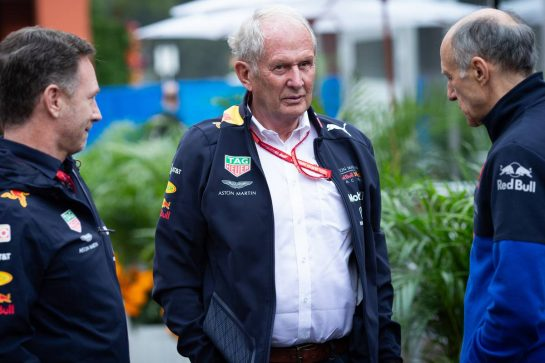(L to R): Christian Horner (GBR) Red Bull Racing Team Principal with Dr Helmut Marko (AUT) Red Bull Motorsport Consultant and Franz Tost (AUT) Scuderia Toro Rosso Team Principal. 25.10.2019. Formula 1 World Championship, Rd 18, Mexican Grand Prix, Mexico City, Mexico, Practice Day.  - www.xpbimages.com, EMail: requests@xpbimages.com © Copyright: Bearne / XPB Images