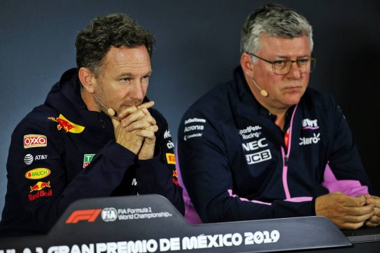 (L to R): Christian Horner (GBR) Red Bull Racing Team Principal and Otmar Szafnauer (USA) Racing Point F1 Team Principal and CEO in the FIA Press Conference. 25.10.2019. Formula 1 World Championship, Rd 18, Mexican Grand Prix, Mexico City, Mexico, Practice Day. - www.xpbimages.com, EMail: requests@xpbimages.com © Copyright: Batchelor / XPB Images