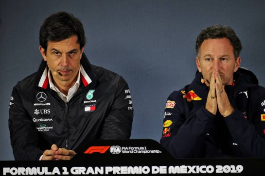 (L to R): Toto Wolff (GER) Mercedes AMG F1 Shareholder and Executive Director and Christian Horner (GBR) Red Bull Racing Team Principal in the FIA Press Conference. 25.10.2019. Formula 1 World Championship, Rd 18, Mexican Grand Prix, Mexico City, Mexico, Practice Day. - www.xpbimages.com, EMail: requests@xpbimages.com © Copyright: Batchelor / XPB Images