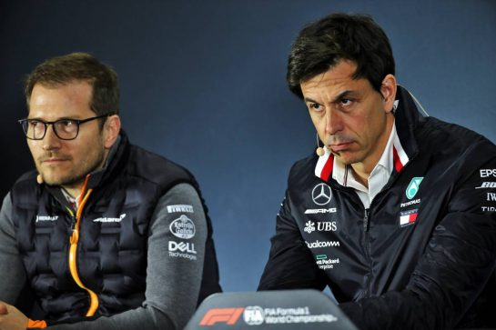 (L to R): Andreas Seidl, McLaren Managing Director and Toto Wolff (GER) Mercedes AMG F1 Shareholder and Executive Director in the FIA Press Conference. 25.10.2019. Formula 1 World Championship, Rd 18, Mexican Grand Prix, Mexico City, Mexico, Practice Day. - www.xpbimages.com, EMail: requests@xpbimages.com © Copyright: Batchelor / XPB Images