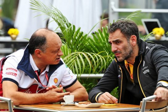 (L to R): Frederic Vasseur (FRA) Alfa Romeo Racing Team Principal with Cyril Abiteboul (FRA) Renault Sport F1 Managing Director. 25.10.2019. Formula 1 World Championship, Rd 18, Mexican Grand Prix, Mexico City, Mexico, Practice Day. - www.xpbimages.com, EMail: requests@xpbimages.com © Copyright: Batchelor / XPB Images