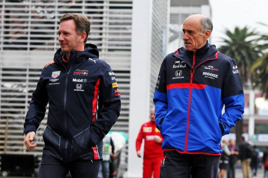 (L to R): Christian Horner (GBR) Red Bull Racing Team Principal with Franz Tost (AUT) Scuderia Toro Rosso Team Principal. 26.10.2019. Formula 1 World Championship, Rd 18, Mexican Grand Prix, Mexico City, Mexico, Qualifying Day. - www.xpbimages.com, EMail: requests@xpbimages.com © Copyright: Moy / XPB Images