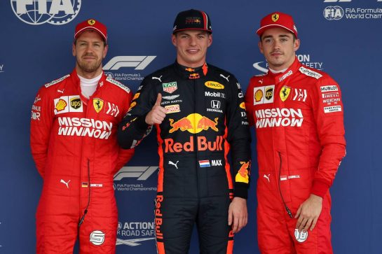 Pole Position for Max Verstappen (NLD) Red Bull Racing RB15, 2nd for Charles Leclerc (MON) Ferrari SF90 and 3rd for Sebastian Vettel (GER) Ferrari SF90.