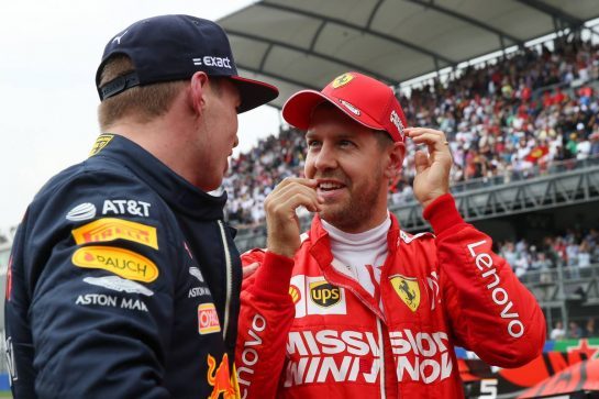 Pole Position for Max Verstappen (NLD) Red Bull Racing RB15  and 3rd for Sebastian Vettel (GER) Ferrari SF90.26.10.2019. Formula 1 World Championship, Rd 18, Mexican Grand Prix, Mexico City, Mexico, Qualifying Day.- www.xpbimages.com, EMail: requests@xpbimages.com © Copyright: Batchelor / XPB Images