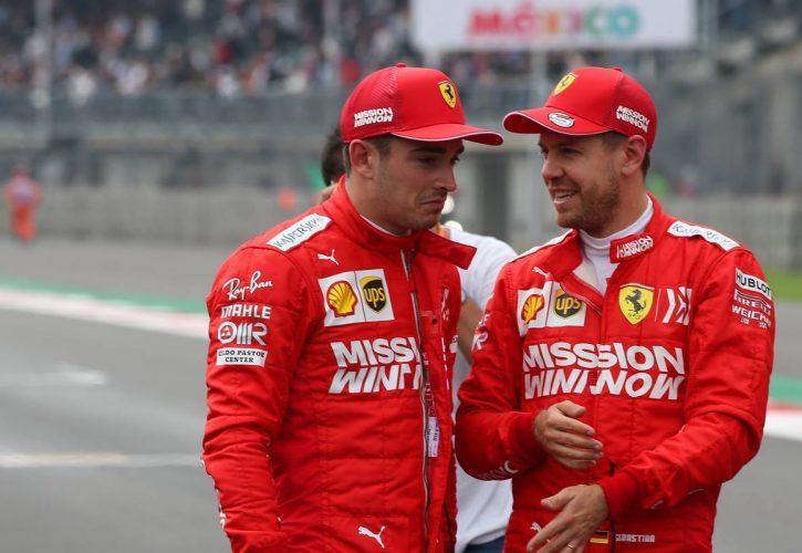 Charles Leclerc (MON) Ferrari SF90 and Sebastian Vettel (GER) Ferrari SF90. 26.10.2019.