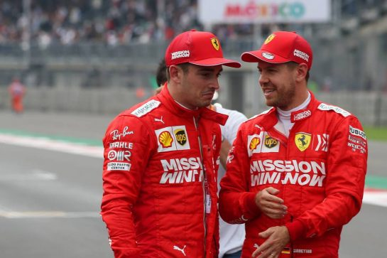 Charles Leclerc (MON) Ferrari SF90 and Sebastian Vettel (GER) Ferrari SF90.26.10.2019. Formula 1 World Championship, Rd 18, Mexican Grand Prix, Mexico City, Mexico, Qualifying Day.- www.xpbimages.com, EMail: requests@xpbimages.com © Copyright: Batchelor / XPB Images