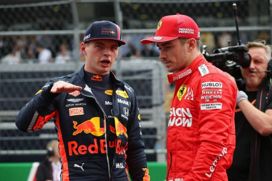 Max Verstappen (NLD) Red Bull Racing RB15 and Charles Leclerc (MON) Ferrari SF90.26.10.2019. Formula 1 World Championship, Rd 18, Mexican Grand Prix, Mexico City, Mexico, Qualifying Day.- www.xpbimages.com, EMail: requests@xpbimages.com © Copyright: Batchelor / XPB Images