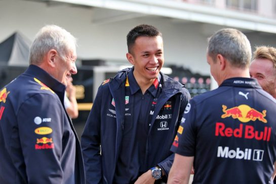 (L to R): Dr Helmut Marko (AUT) Red Bull Motorsport Consultant; Alexander Albon (THA) Red Bull Racing; Paul Monaghan (GBR) Red Bull Racing Chief Engineer.