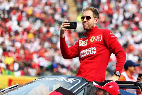 Sebastian Vettel (GER) Ferrari on the drivers parade.