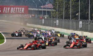 Charles Leclerc (MON) Ferrari leads Sebastian Vettel (GER) Ferrari SF90 at the start of the race.