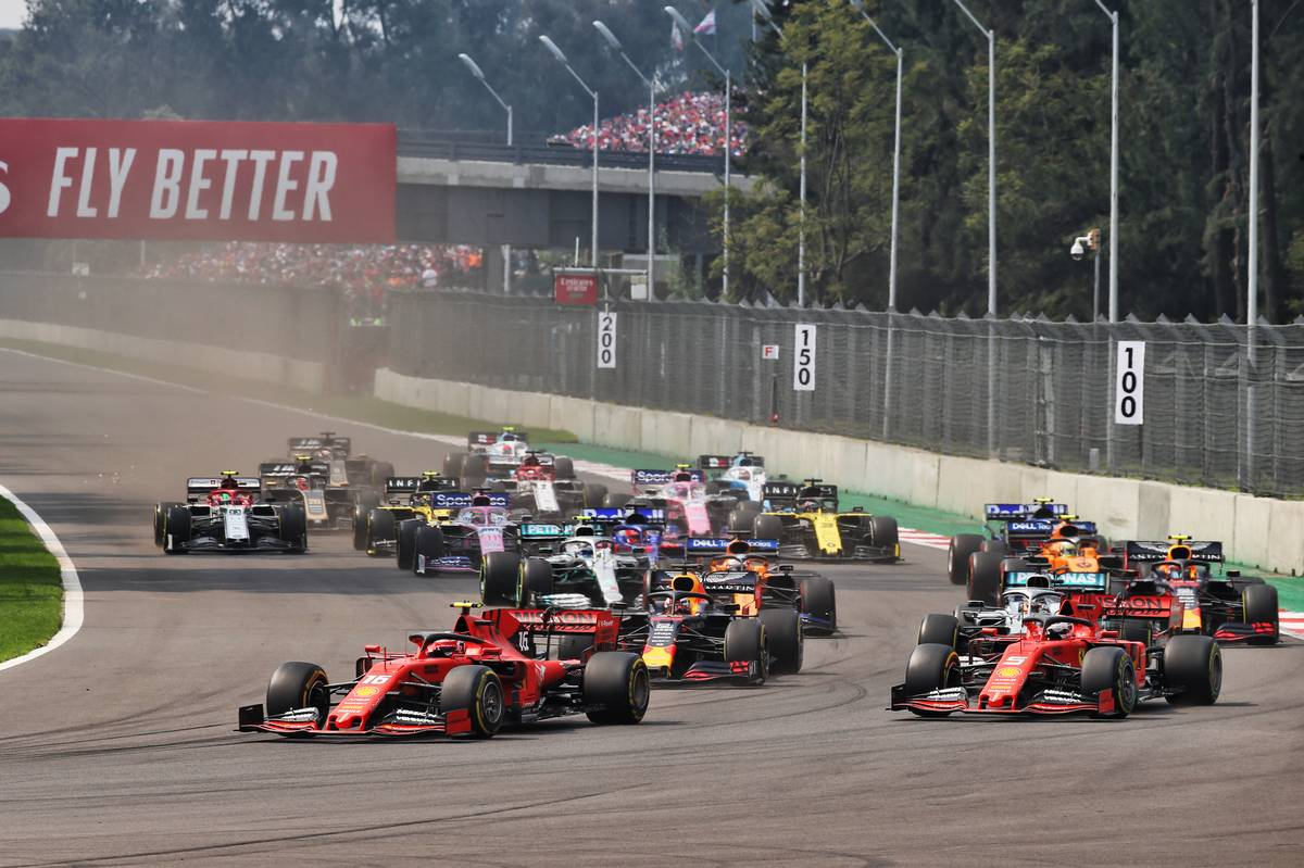 Charles Leclerc (MON) Ferrari leads Sebastian Vettel (GER) Ferrari SF90 at the start of the race.