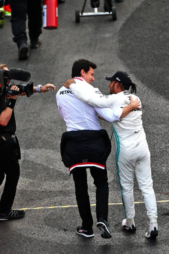 Race winner Lewis Hamilton (GBR) Mercedes AMG F1 celebrates with Toto Wolff (GER) Mercedes AMG F1 Shareholder and Executive Director in parc ferme. 27.10.2019. Formula 1 World Championship, Rd 18, Mexican Grand Prix, Mexico City, Mexico, Race Day. - www.xpbimages.com, EMail: requests@xpbimages.com © Copyright: Moy / XPB Images