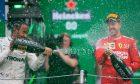 Lewis Hamilton (GBR) Mercedes AMG F1 W10 and Sebastian Vettel (GER) Ferrari SF90.