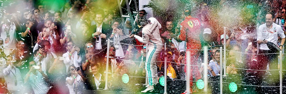 Race winner Lewis Hamilton (GBR) Mercedes AMG F1 W10 celebrates on the podium.