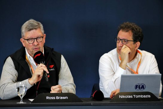(L to R): Ross Brawn (GBR) Managing Director, Motor Sports and Nicholas Tombazis (GRE) FIA Head of Single-Seater Technical Matters at a 2021 Regulations Press Conference. 31.10.2019. Formula 1 World Championship, Rd 19, United States Grand Prix, Austin, Texas, USA, Preparation Day. - www.xpbimages.com, EMail: requests@xpbimages.com © Copyright: Batchelor / XPB Images