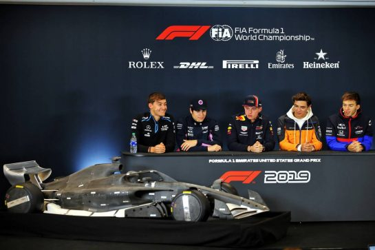 (L to R): George Russell (GBR) Williams Racing; Lance Stroll (CDN) Racing Point F1 Team; Max Verstappen (NLD) Red Bull Racing; Lando Norris (GBR) McLaren; Pierre Gasly (FRA) Scuderia Toro Rosso, in the FIA Press Conference.