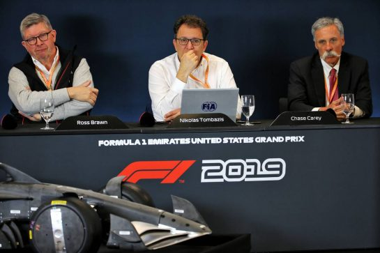 (L to R): Ross Brawn (GBR) Managing Director, Motor Sports; Nicholas Tombazis (GRE) FIA Head of Single-Seater Technical Matters; and Chase Carey (USA) Formula One Group Chairman, at a 2021 Regulations Press Conference.