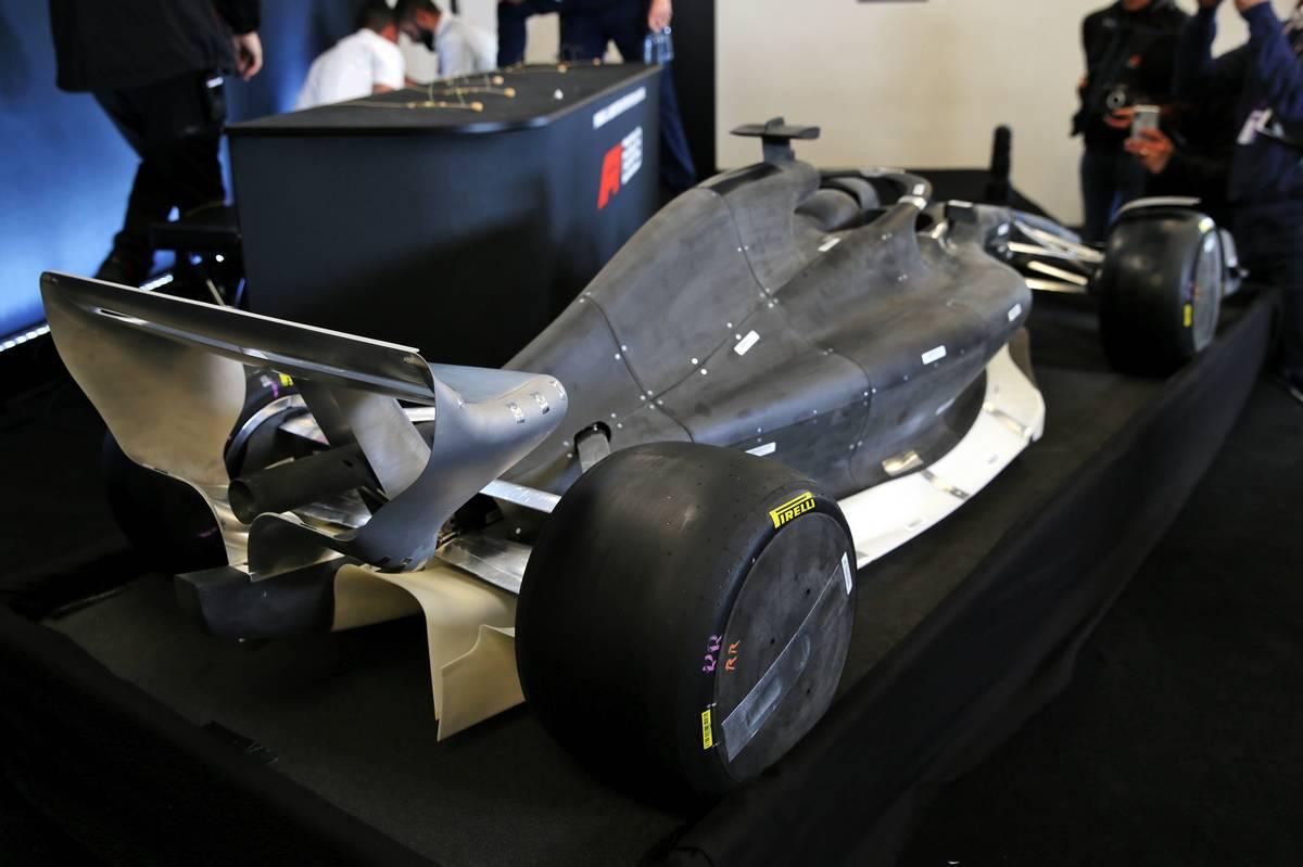 A model car at a 2021 Regulations Press Conference.