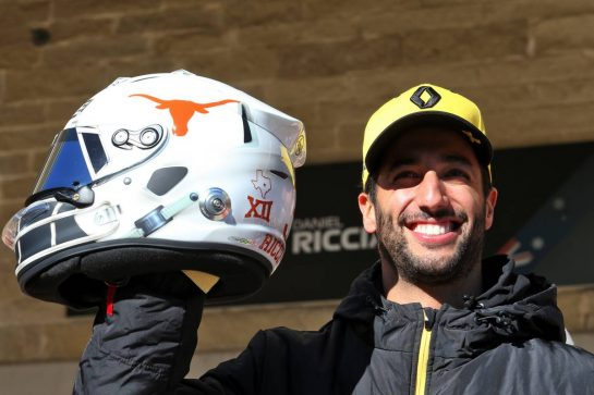 Daniel Ricciardo (AUS) Renault F1 Team with a new helmet design.