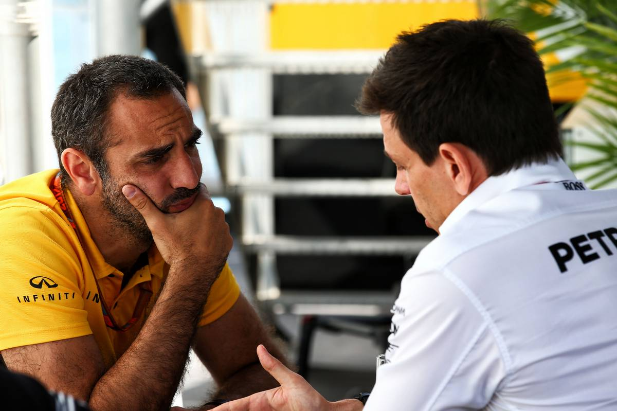 Cyril Abiteboul (FRA) Renault Sport F1 Managing Director with Toto Wolff (GER) Mercedes AMG F1 Shareholder and Executive Director.