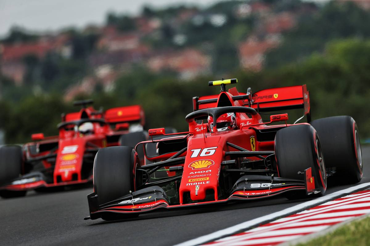 Charles Leclerc (MON) Ferrari SF90 and Sebastian Vettel (GER) Ferrari SF90.