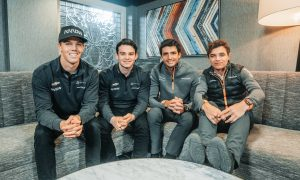 Arrows McLaren SP drivers Oliver Askew and Pato O'Ward meet their McLaren F1 counterparts Carlos Sainz and Lando Norris