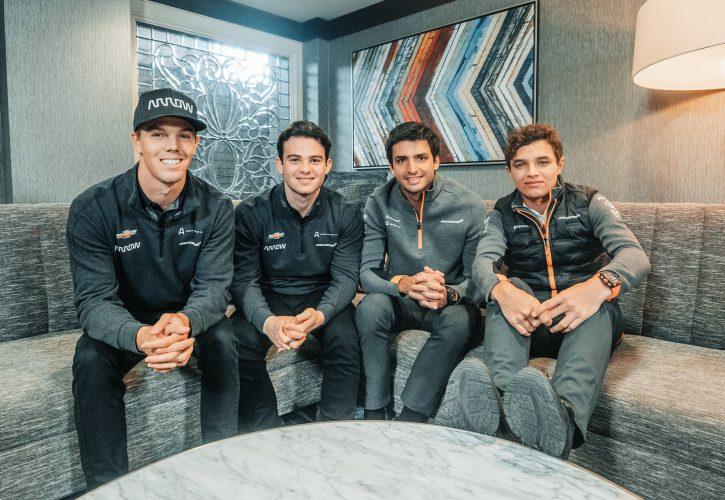 Arrows McLaren SP drivers Oliver Askew and Pato O'Ward meet their McLaren F1 counterparts Carlos Sainz and Lando Norris