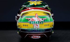Hamilton helmet in Brazil sparkles with Senna tribute