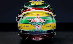 Hamilton helmet in Brazil sparkles with Senna tribute